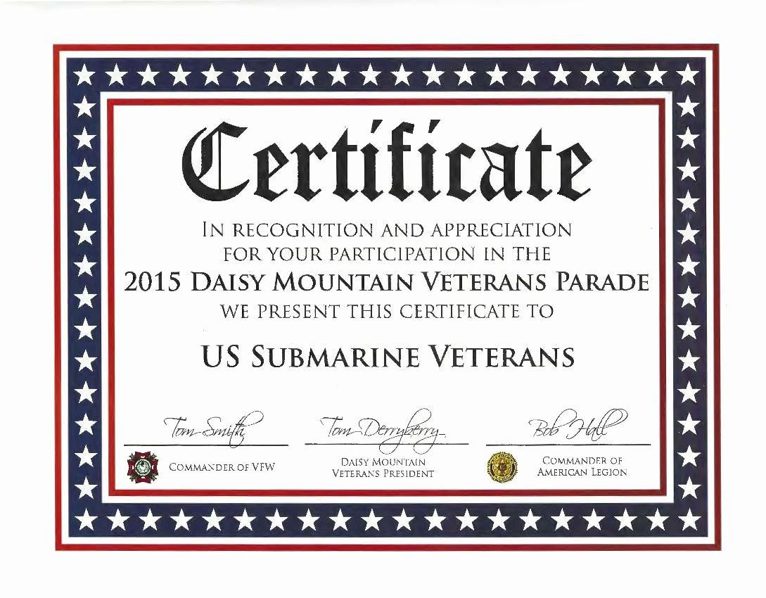 Veterans Appreciation Certificate Template New Perch Base Ussvi Awards