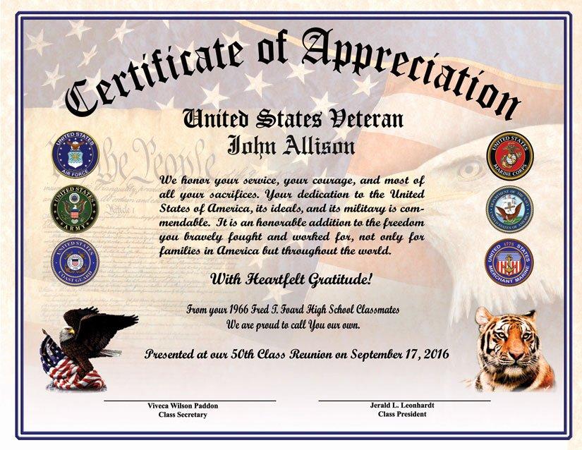 Veterans Appreciation Certificate Template Unique High School Reunion Veterans Appreciation Certificate