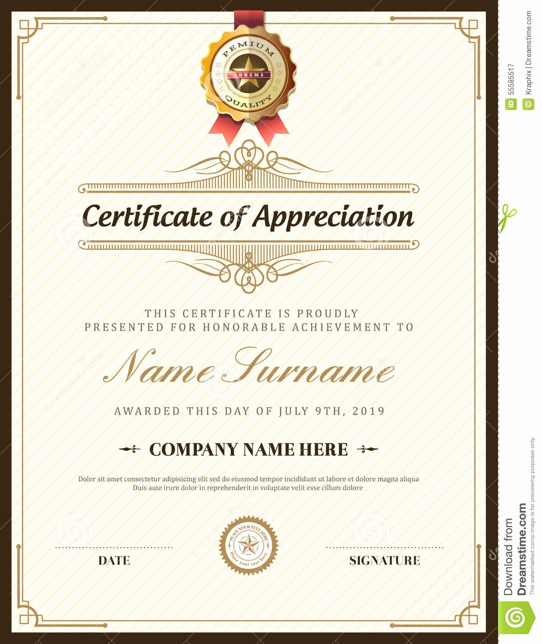 stock illustration vintage retro frame certificate background template design image