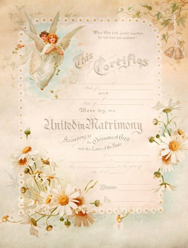 Vintage Marriage Certificate Template Elegant Vintage Angels Blank Marriage Certificate