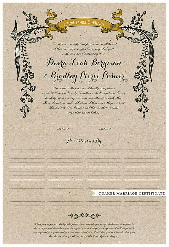 Vintage Marriage Certificate Template New Wedding Certificate Quaker Marriage Certificate Wedding