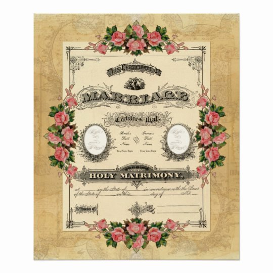 Vintage Marriage Certificate Template Unique Vintage Wedding Marriage Certificate Modern Design Poster