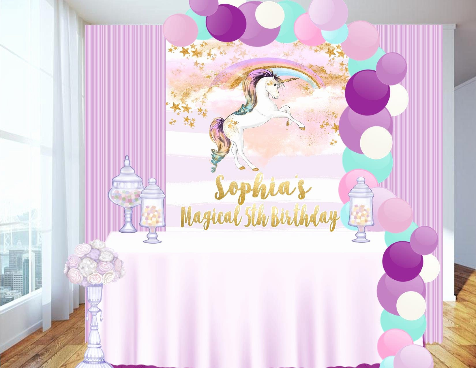 Vista Print Birthday Banners Elegant Digital File Candy Table Backdrop Unicorn Party Unicorn