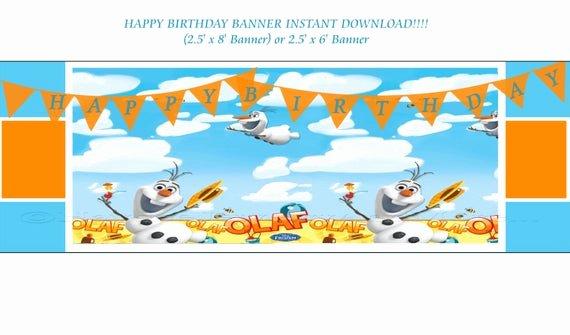 Vista Print Birthday Banners Fresh Olaf Summer Birthday Banner Instant Download Frozen