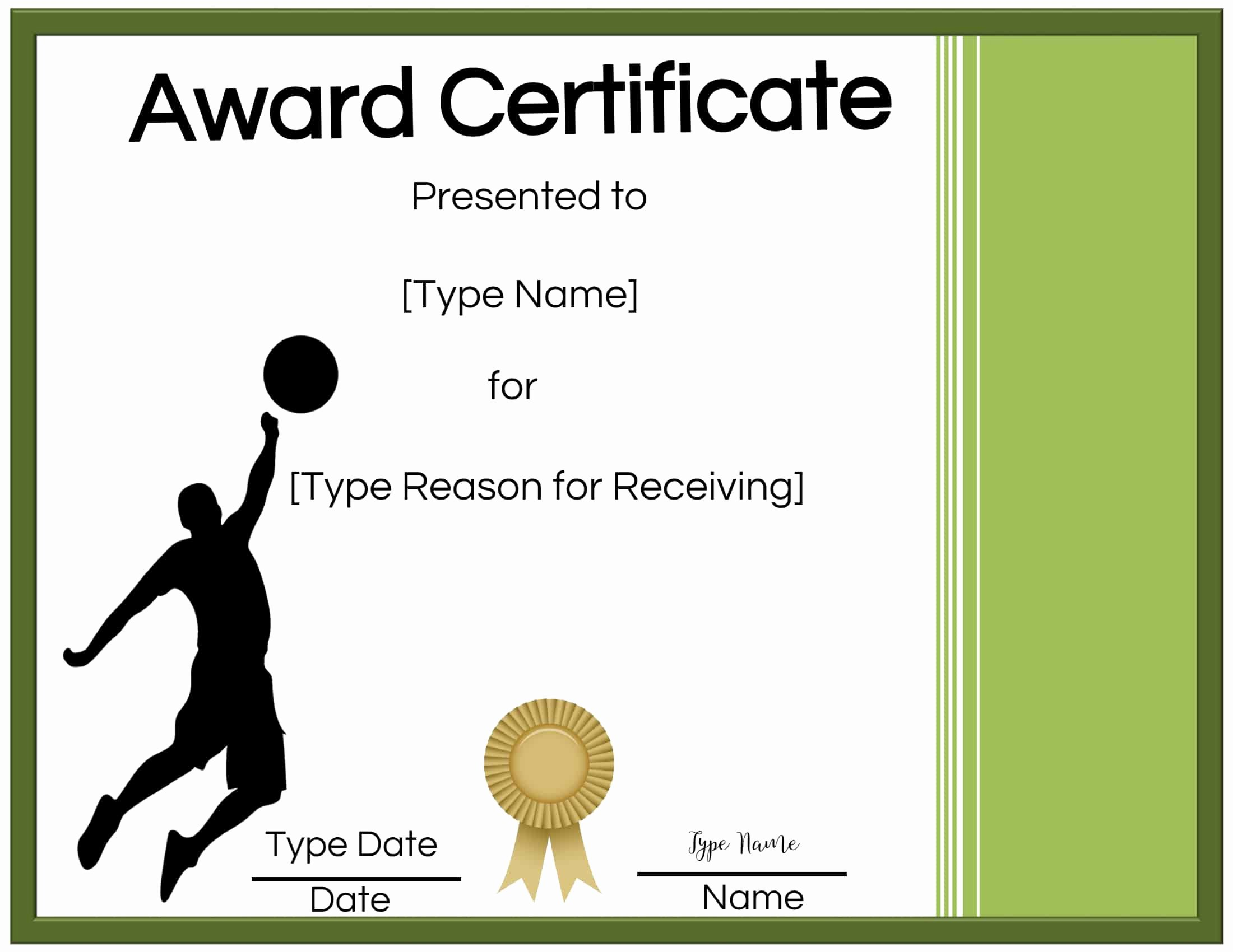 Volleyball Certificate Template Free Awesome Free Volleyball Certificate