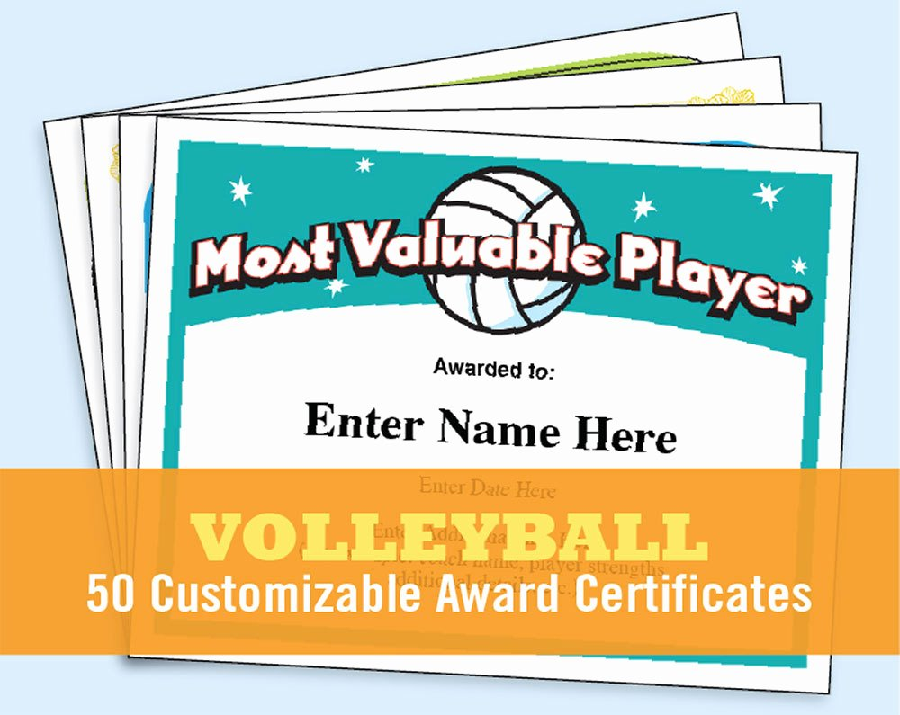 Volleyball Certificate Template Free Awesome Volleyball Certificates Kid Certificates Child Certificate