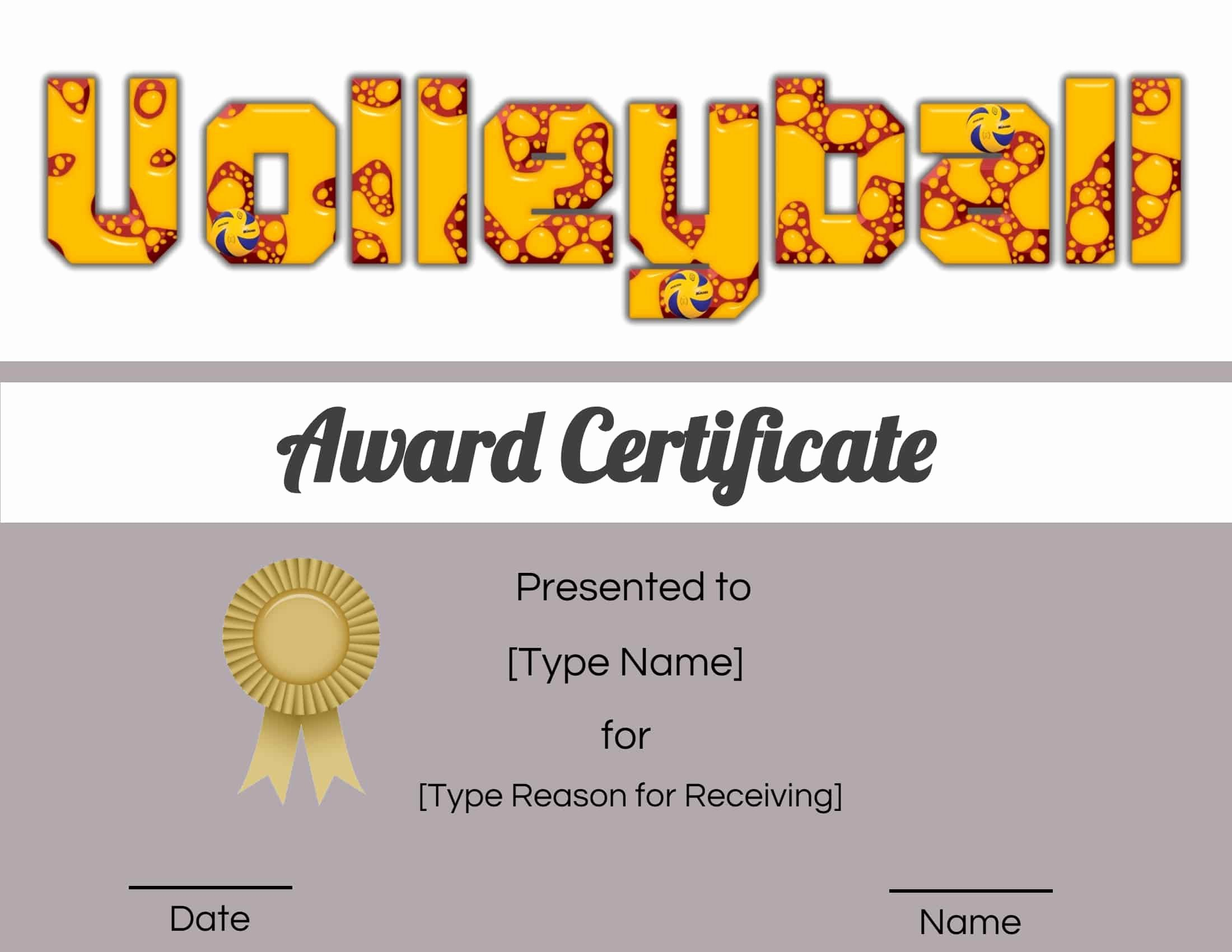 Volleyball Certificate Template Free Beautiful Free Volleyball Certificate