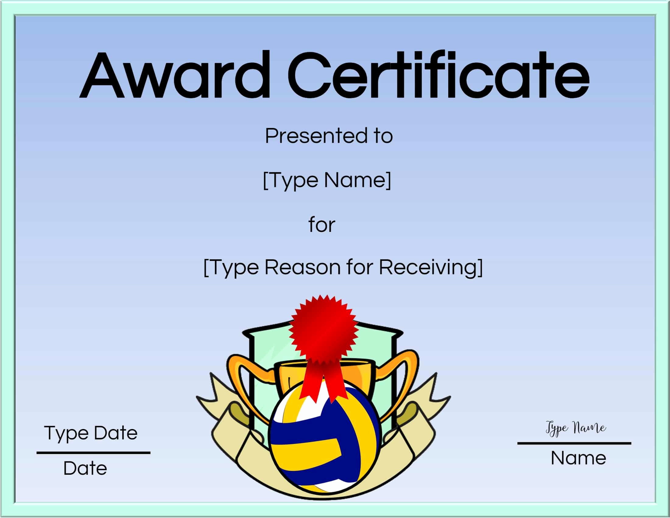Volleyball Certificate Template Free Best Of Free Volleyball Certificate