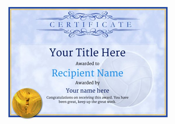 Volleyball Certificate Template Free Best Of Free Volleyball Certificate Templates Add Printable