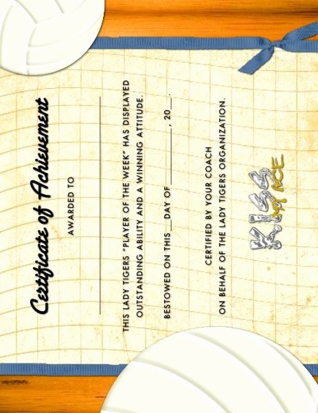 Volleyball Certificate Template Free Best Of Volleyball Award Certificate Designed by Roxanne Buchholz
