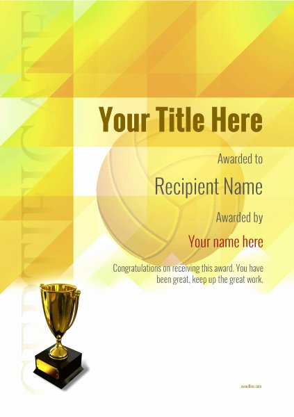 Volleyball Certificate Template Free Elegant Free Volleyball Certificate Templates Add Printable