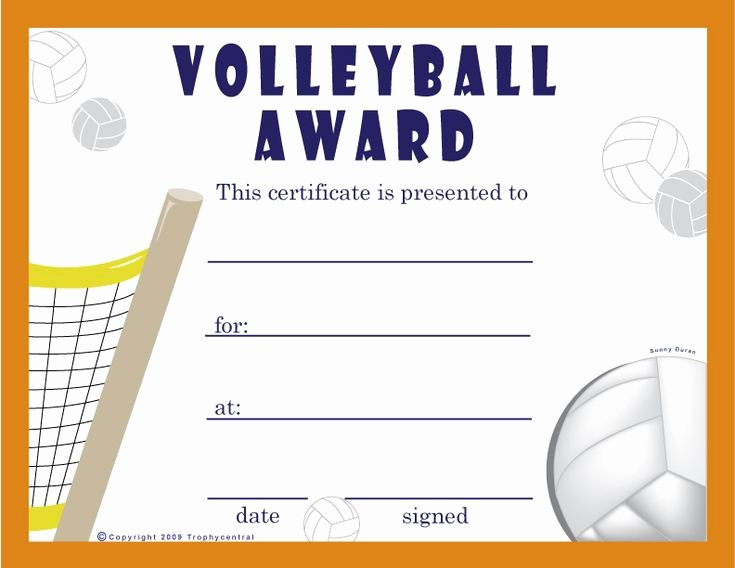 Volleyball Certificate Template Free Lovely Free Volleyball Certificates $0 00 Sports