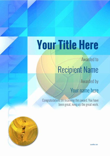 Volleyball Certificate Template Free Luxury Free Volleyball Certificate Templates Add Printable