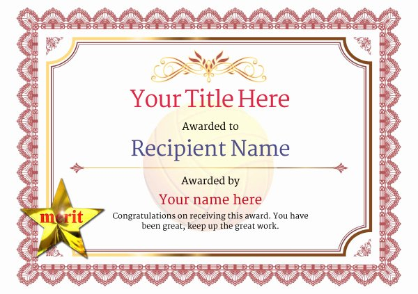 Volleyball Certificate Template Free New Free Volleyball Certificate Templates Add Printable
