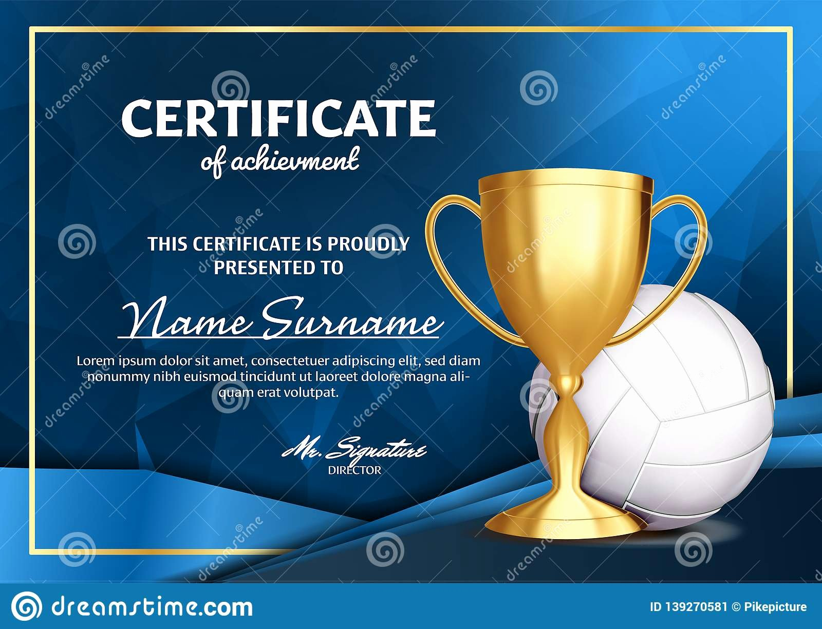 Volleyball Certificate Template Free New Volleyball Certificate Diploma with Golden Cup Vector
