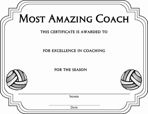volleyball award certificate template