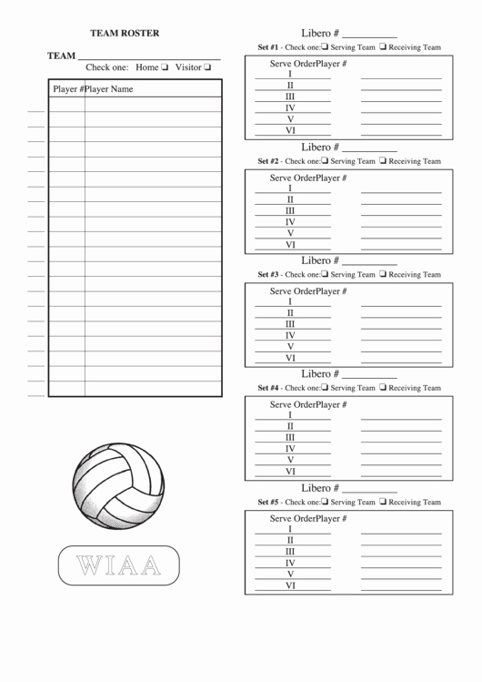 Volleyball Lineup Sheet Printable Awesome Wiaa Volleyball Team Roster Sheet Printable Pdf