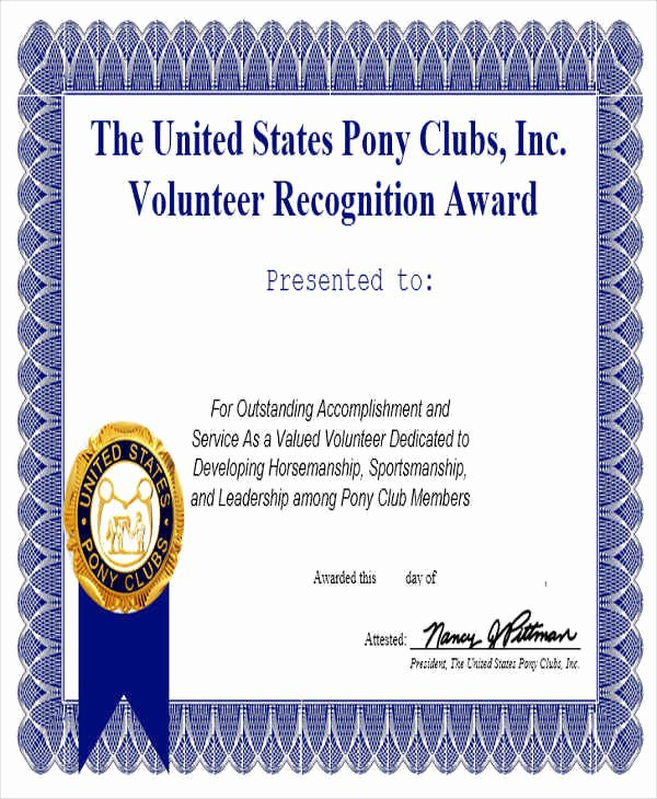 Volunteer Of the Month Certificate Template Fresh 31 Award Certificates In Word format
