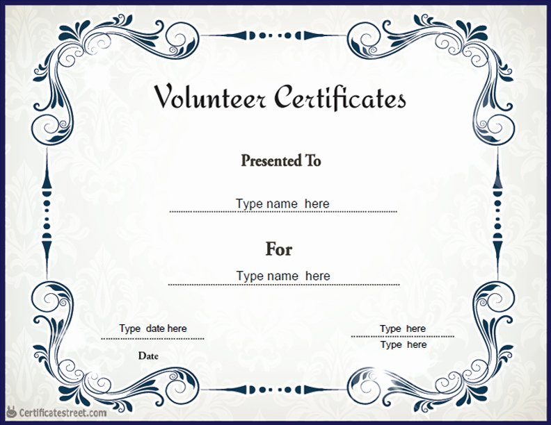 Volunteer Of the Month Certificate Template Fresh Certificate Street Free Award Certificate Templates No
