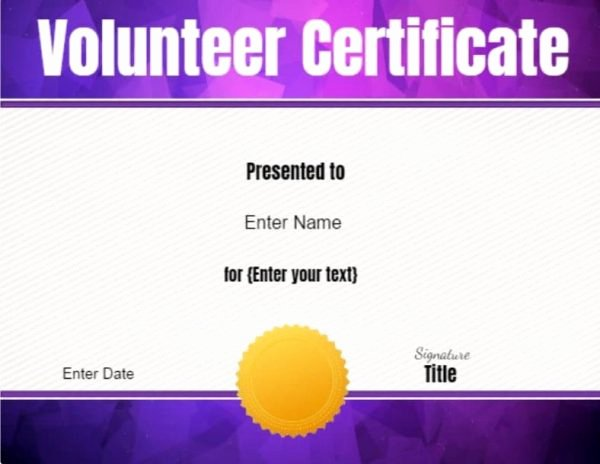 Volunteer Of the Month Certificate Template Unique Volunteer Certificate Of Appreciation