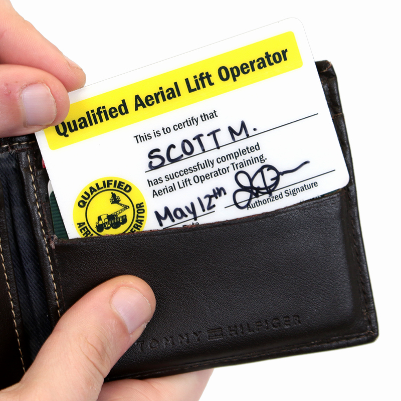 Wallet Size Certification Card Template Awesome Qualified Aerial Lift Operator Wallet Card Sku Bd 0400 Sl