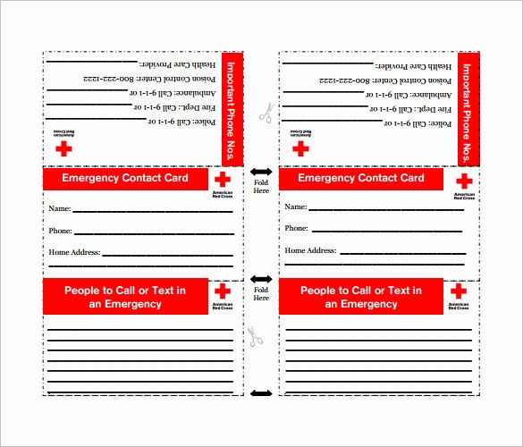 Wallet Size Certification Card Template New Free Emergency Contact Wallet Card