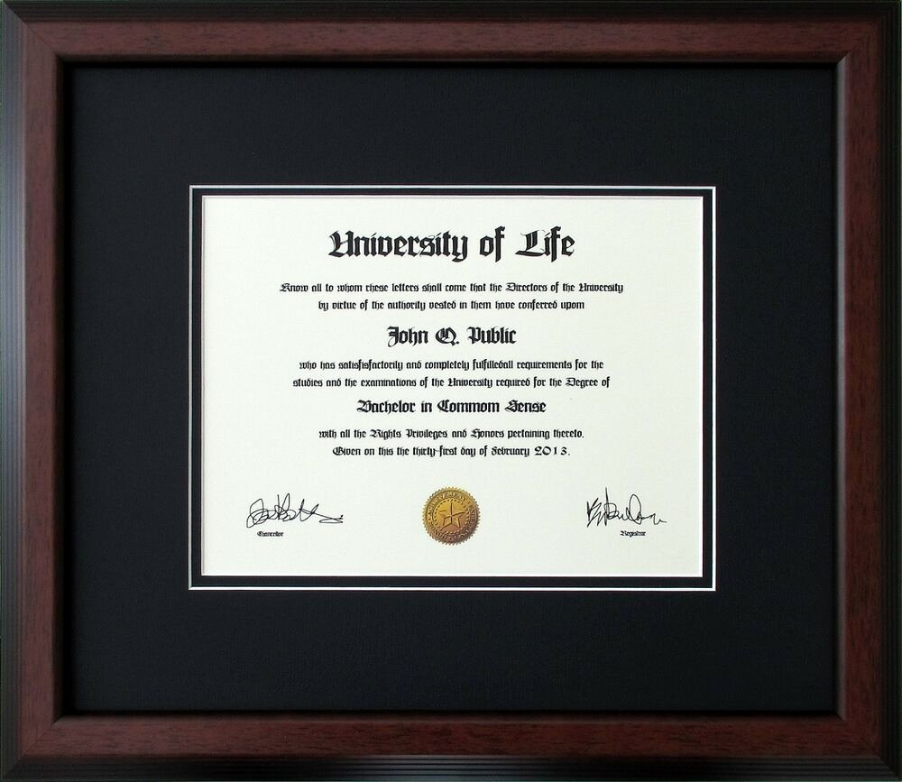 Wallet Size High School Diploma Awesome Walnut Wood Frame with Black and Black Mats for Diploma