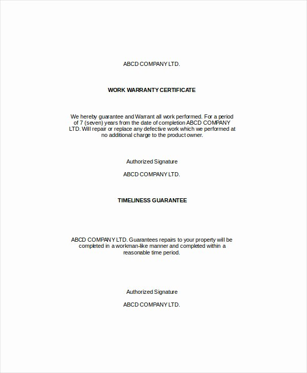 Warranty Certificate Template Free Awesome 28 Of Warranty Template