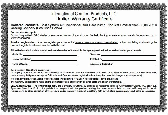 Warranty Certificate Template Free Best Of Free 6 Sample Warranty Certificate Templates In Pdf