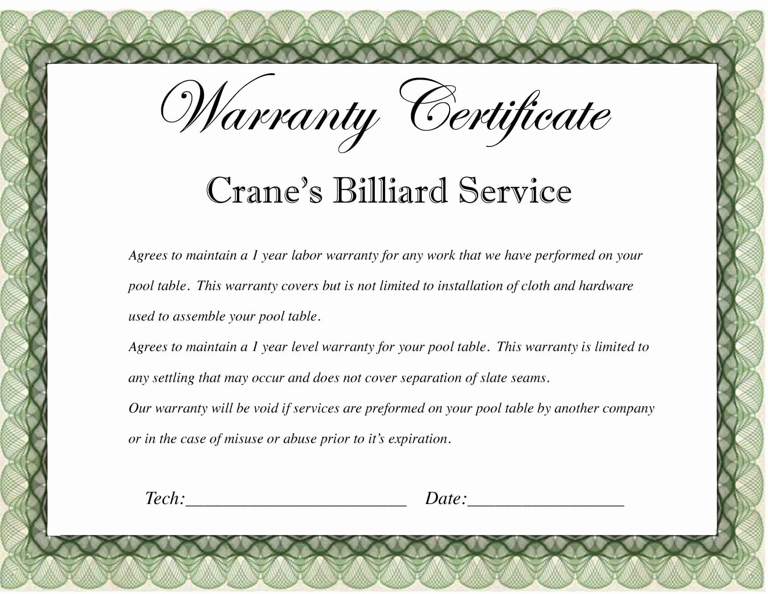 Warranty Certificate Template Free Best Of Warranty Certificate Template Word Editable Doc