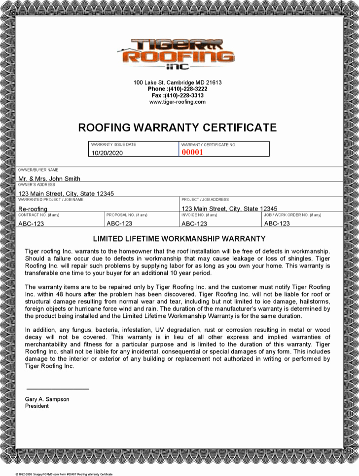Warranty Certificate Template Free Elegant Roofing Warranty Letter & Roofing Contract Template Free