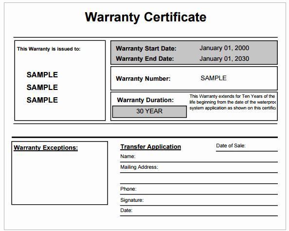 Warranty Certificate Template Free Luxury 9 Warranty Certificate Templates Free Sample Templates