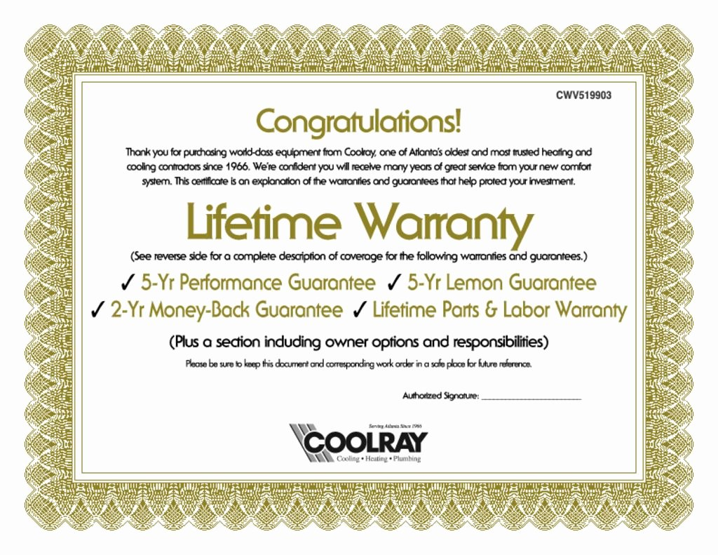 Warranty Certificate Template Word Awesome Coolray Lifetime Warranty Certificate Wrench Group