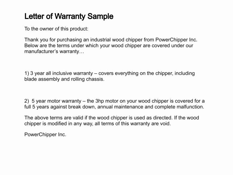 Warranty Certificate Template Word Elegant Letter Of Warranty