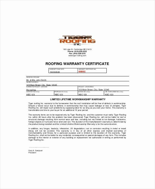 Warranty Certificate Template Word Lovely Special Warranty Certificate Templates Free 123certificate