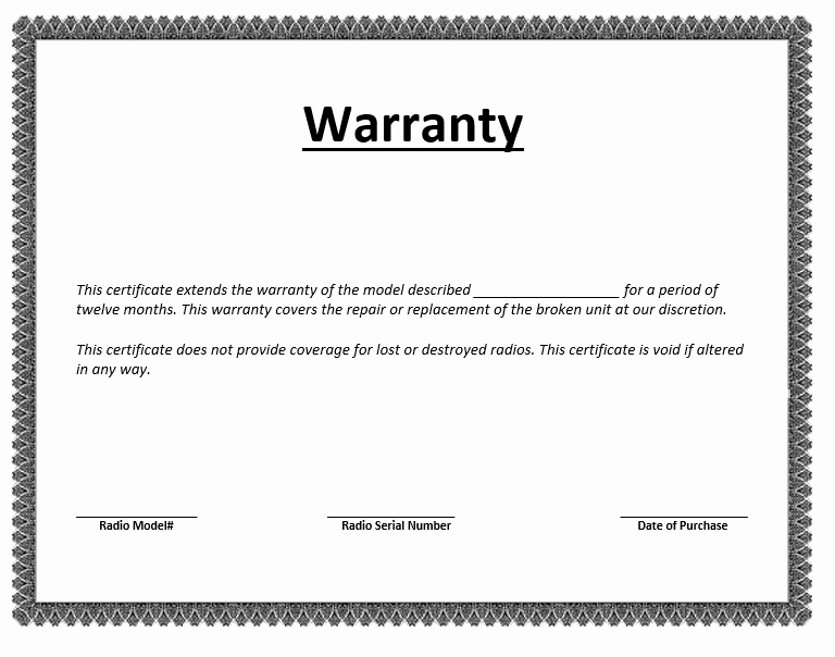 Warranty Certificate Template Word Luxury Warranty Certificate Template – Word Templates for Free
