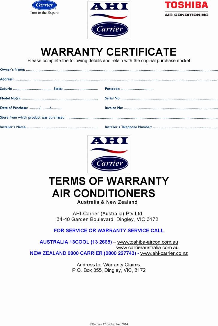 warranty certificate templates