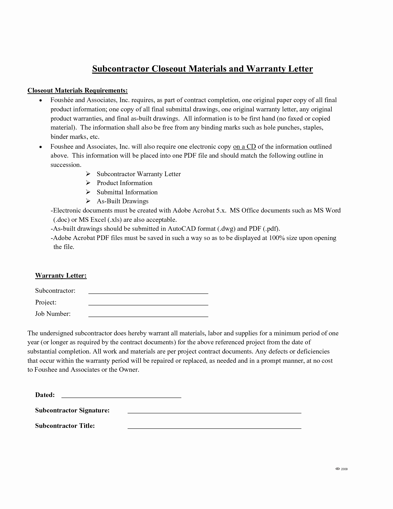 Warranty Letter General Contractor Awesome Letter Warranty Free Printable Documents