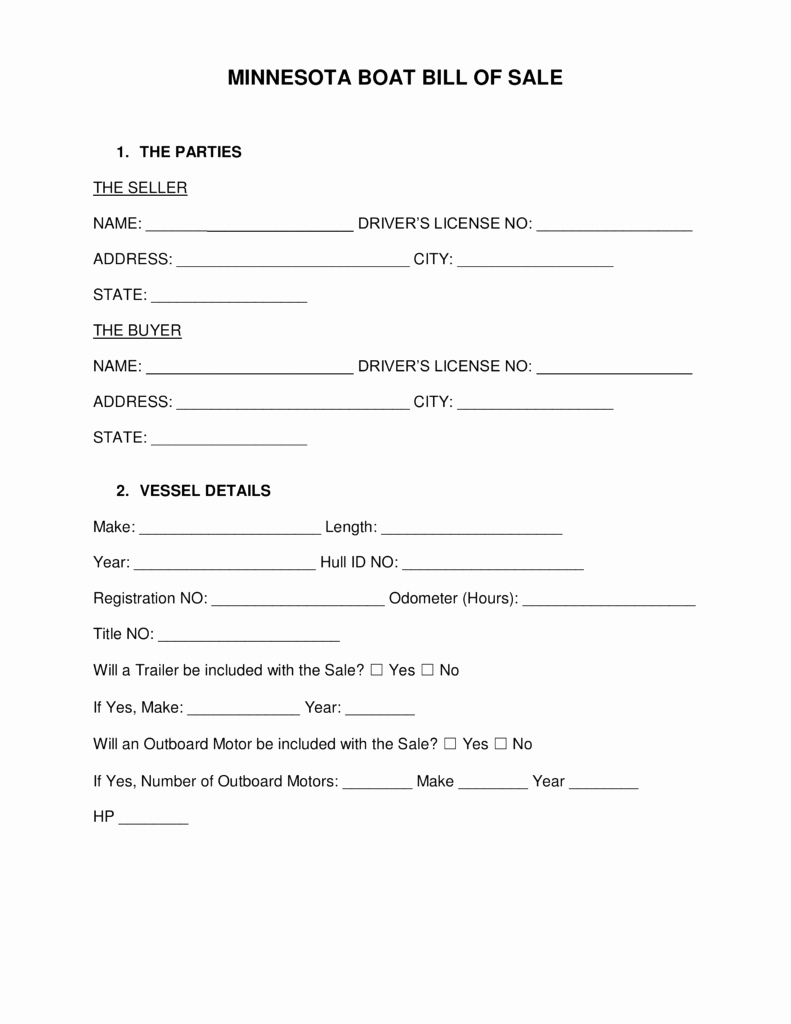 Watercraft Bill Of Sale Best Of Free Minnesota Boat Bill Of Sale form Word