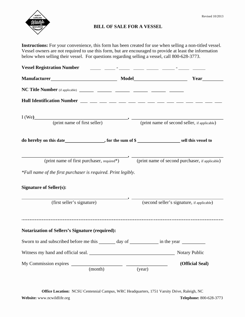Watercraft Bill Of Sale Best Of Free north Carolina Vessel Bill Of Sale form Pdf