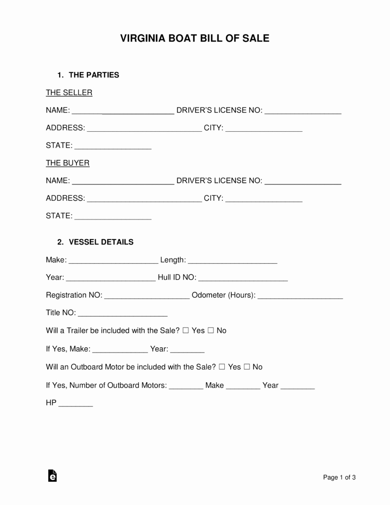 Watercraft Bill Of Sale Elegant Free Virginia Boat Bill Of Sale form Word Pdf