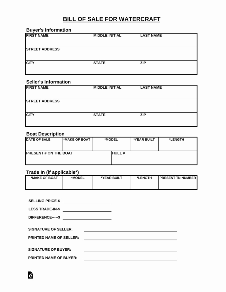 Watercraft Bill Of Sale Lovely Free Tennessee Watercraft Bill Of Sale form Pdf