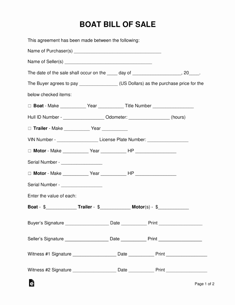 Watercraft Bill Of Sale New Free Boat Vessel Bill Of Sale form Pdf Word