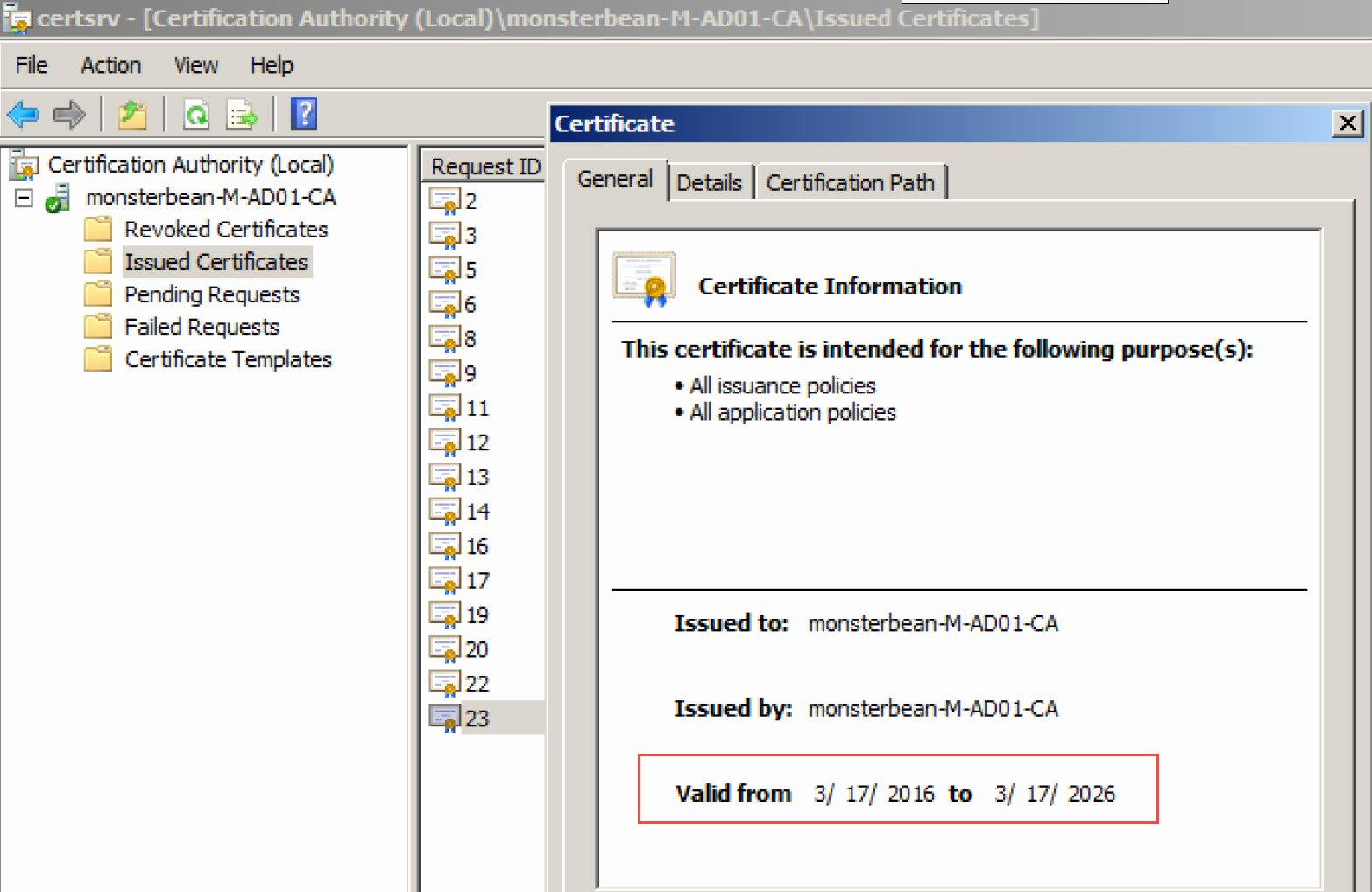 Web Server Certificate Template Fresh Extend Default Certificate Expire Date for Windows Ca