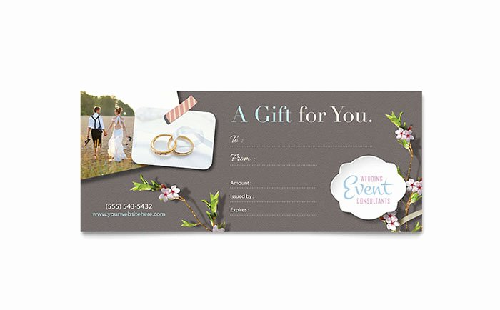 Wedding Gift Certificate Template Free Download Awesome Wedding Planner Gift Certificate Template Design