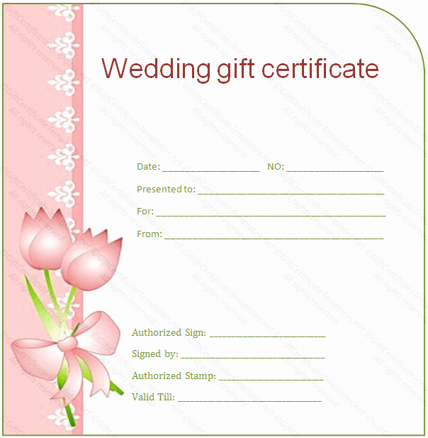 Wedding Gift Certificate Template Free Download Beautiful Side Border Wedding Gift Certificate Template