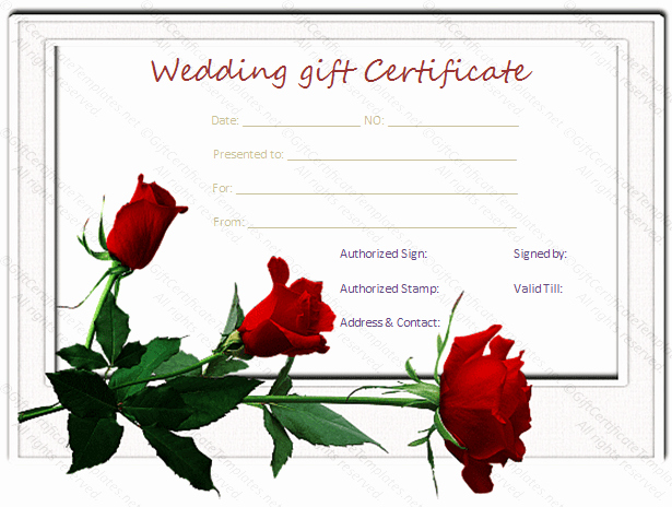 Wedding Gift Certificate Template Free Download Lovely Red Rose Wedding T Certificate Template