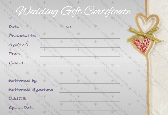 Wedding Gift Certificate Template Free Download Lovely Sentimental Wedding Gift Certificate Template