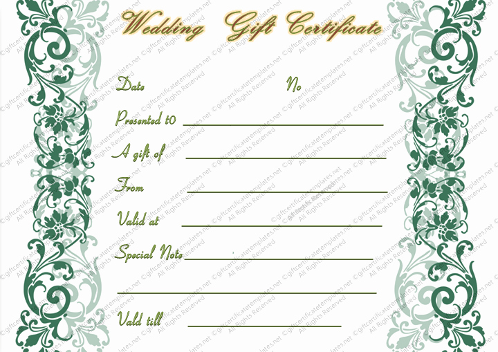 Wedding Gift Certificate Template Free Download New Wedding Gift Certificate Templates