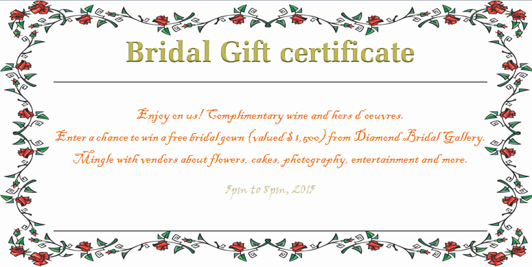 Wedding Gift Certificate Template Free Download Unique Wreath Of Roses Bridal Gift Certificate Template